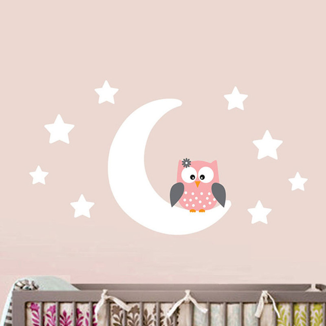 Moon Stars Owl Decorative Vinyl Wall Decals Sticker Wallpaper ...
