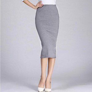 Image 4 - 1Pc Solid Pencil Skirt Knitted Stretch Elastic Office Lady High Waist Womens Skirt Black Fashion Red Color Long Skirt Hot Sale