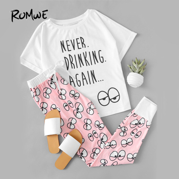 White Pink Letter Eye Print Tee And Pants Sleepwear