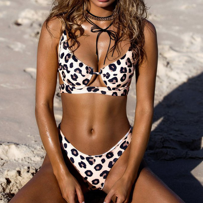 Sexy Bikini Women Swimwear Push Up Swimsuit Print Leopard Dot Bikini Set Bathing Suit Female Beachwear Girls Swim Wear Beach XL