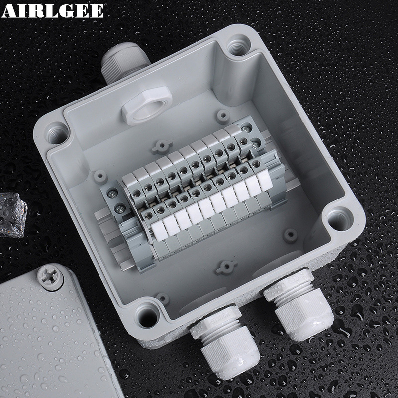 1 Inlet 2 Outlet High quality IP66 ABS Waterproof Junction Box DIY Outdoor Electrical Splitter box Wire Connection With UK2.5B white abs plastic waterproof dust proof junction box 36mm open hole diy electrical connection outdoor monitor distribution box