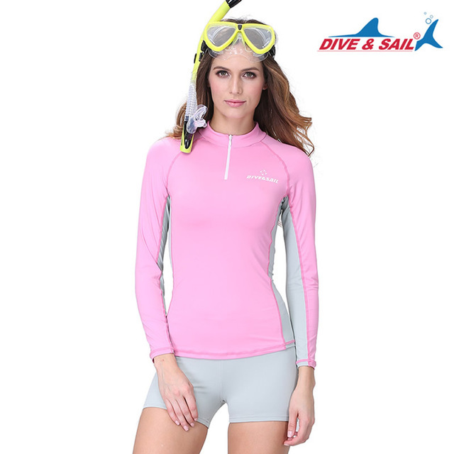 a8a07365b6607 DIVE SAIL Two-pieces Women Long Sleeve Swimwear Swimsuit w  Shorts Rash  Guard Diving Skin Beachwear Surf Anti-UV Shirt UPF50+