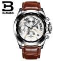 2017 Suíça Binger Luxo Esportes Relógios Luminosos Dos Homens Pulseira de Couro Senhores de Negócios Multifuncional Relógio Relogio masculino