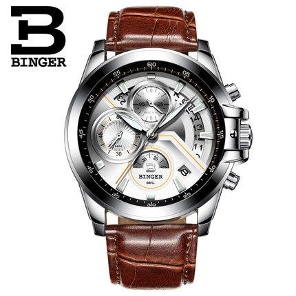 Здесь продается  2017 Switzerland Binger Luxury Sports Luminous Watches Men Business Leather Band Gentlemen Watch Multifunction Relogio Masculino  Часы