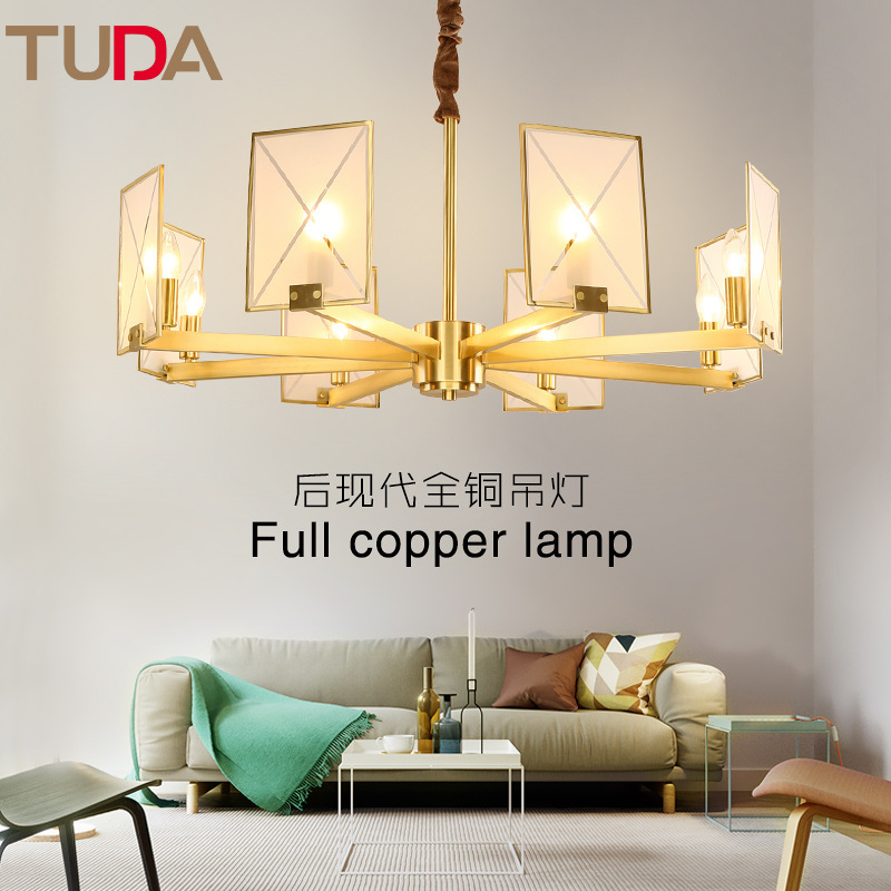 TUDA LED Chandelier Frosted Glass Copper Chandelier Living Room Bedroom Restaurant Bird Light Chandelier E14 110V 220V