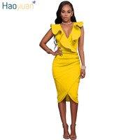 HAOYUAN Women Summer Dress 2018 Ruffle V Neck Elegant Yellow Black White Tunic Robe Sexy Dresses