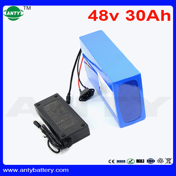 High Capacity 48V 30Ah Lithium Battery 30A BMS For Electric Bike Motor 1440W eBike Battery 48V 18650 Rechargeable Battery Pack