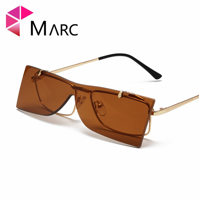 MARC New Women Folding Sunglasses Personality Street Style Men Rectangle Eyeglass Alloy Mono lens Fashion Colorful Glasses 1 in Women 39 s Sunglasses from Apparel Accessories