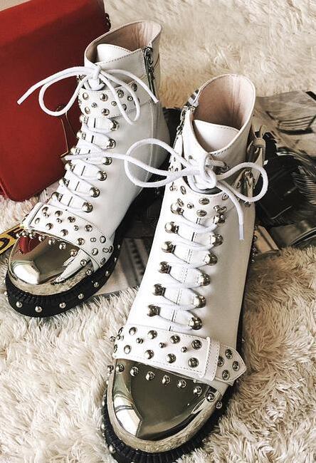 Mujeres Punta Zapatos Negro Tacón Nueva Lonelinecc Genuino Mitad blanco Grande Moda Las Mujer La Redonda Cuero Tamaño De Cuadrado Pantorrilla Aq7x7vHn