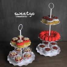 Три (два) слоя высота 48 см белый Цвет торт стенд партии праздничные Свадебные украшения торт стенд/плиты DGP042