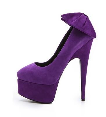 new fashion hot selling woman high heel shoes purple suede platform pumps back butterfly knot thin heels shoes dress heels|thin heels|dress heels|platform pumps -