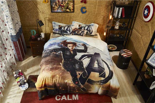 Marvel Comforter Cover Sets Twin Size Boys Cartoon Home Textile Egyptian Cotton Bedding Disney Black Widow Bed Linen 4pc
