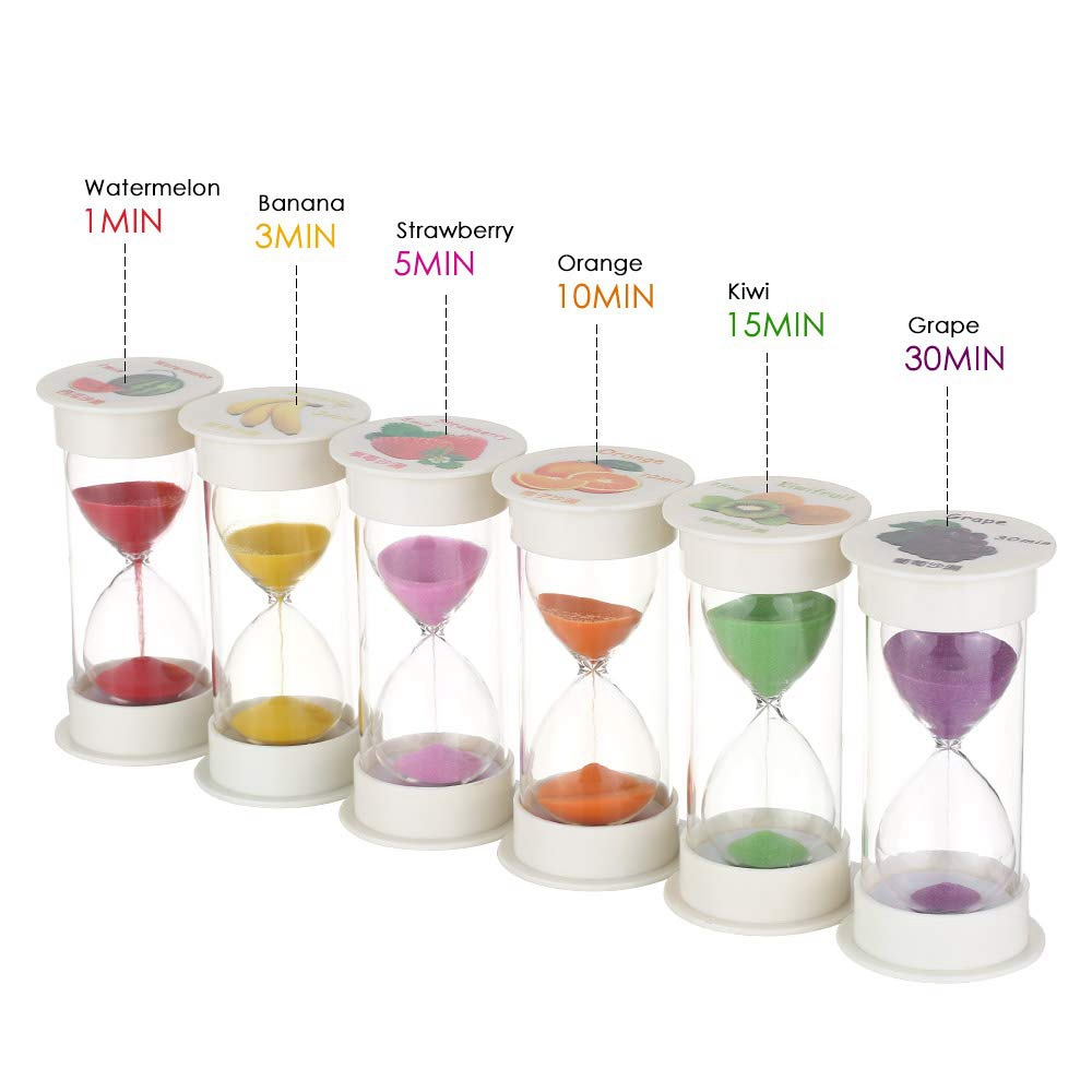 1Set 6 Colors Home Decor Desktop Mini Sand Clock Timers 1/3/5/10/15/30 Minutes Desktop Sand Clock Timer Brushing Children Gift sand