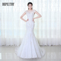 BEPEITHY 2019 Elegant Sexy Appliques Lace Scoop Beaded Tulle Vintage Bride Dress Mermaid Wedding Dresses Vestido De Noiva