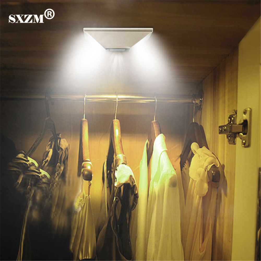 SXZM led cabinet light Wireless Motion Activated Sensor Lights Battery Powered 0.5W Emergency Night Lamp for armoire mini wireless pir motion sensor night light battery powered porch cabinet lamp