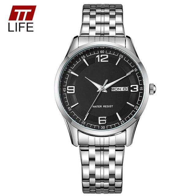 TTLIFE 2016 Women Gold Stainless Steel Quartz Wrist Watch Waterproof Clock Luxury Lovers Watches Men Women Date Day Watch Couple