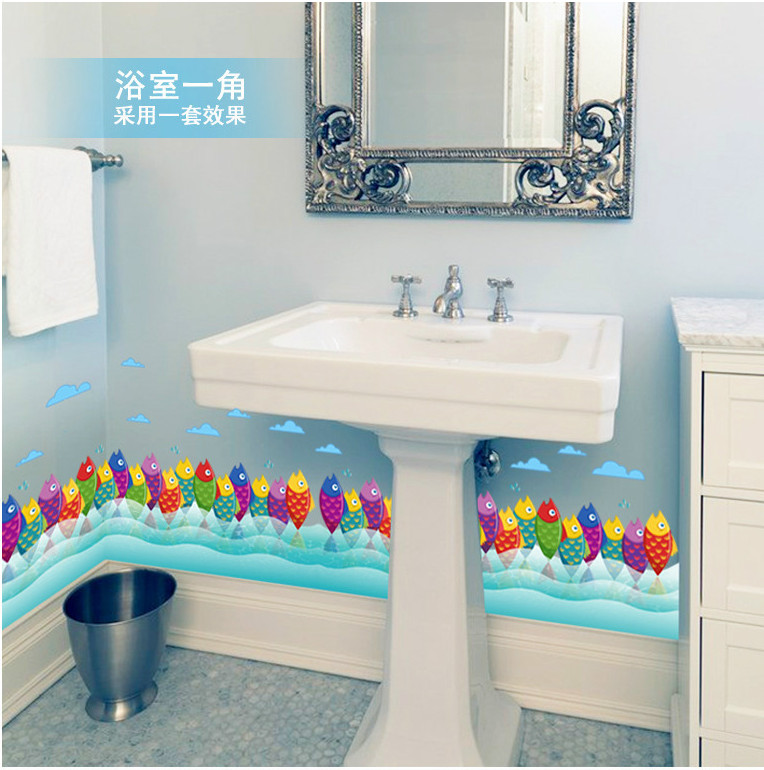 US $3.67 5% OFF|Bunte nette lustige Fisch Meer Himmel Wolke taille linie  malen wandaufkleber ausgangsdekor Sockel Linie kinderzimmer badezimmer  küche ...