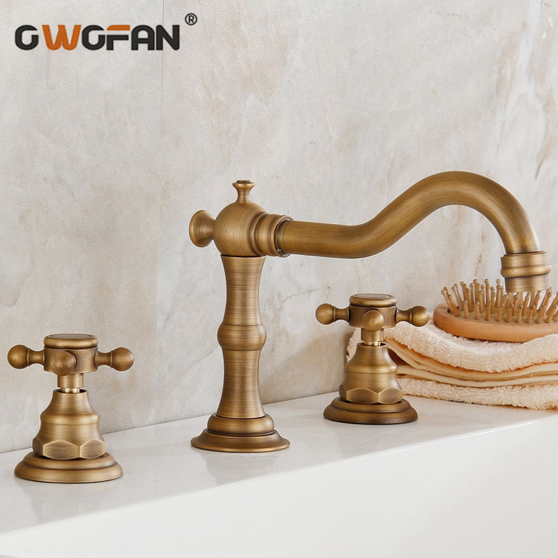 Basin Faucets Antique Bathroom Faucet Bronze 3 Hole Water Taps Handles for Furniture Dual Holder Wash