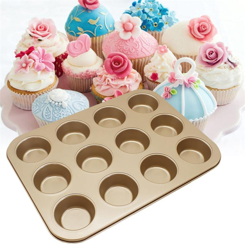26*35CM 12 Cups Mini Muffin Cupcake Baking mold Microwave Oven Bake Cup Cake Mold Pan Tray Carbon steel Bakeware Plate 7CM Sale