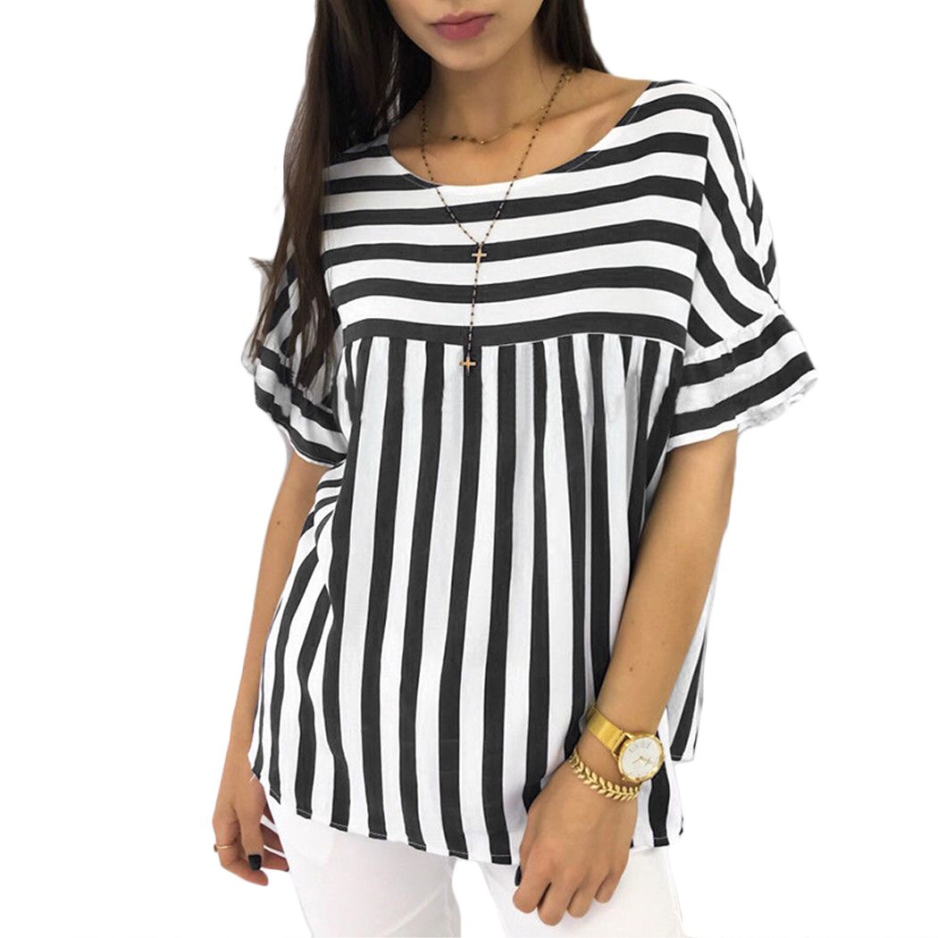 Womens Summer Casual Striped Blusas 2018 Short Sleeve Ladies O Neck Loose Tops   Blouse     Shirt   Large Size Camisas Femininas
