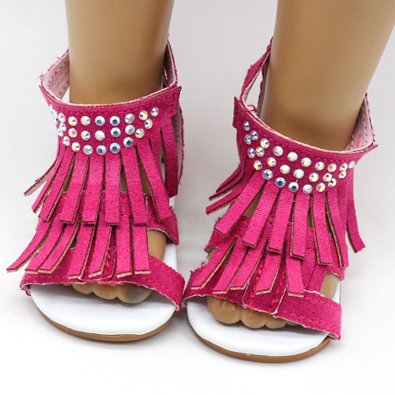 18 Inch Girl Doll Jean 7.5cm Doll Shoes For 45CM Doll Tassel Sandals Summer Shoes