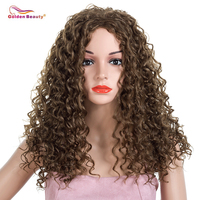 Long Kinky Curly Wigs For Women Natural Hair Wigs Black Red Curly Synthetic Heat Resistant Fiber Full Wig Golden Beauty