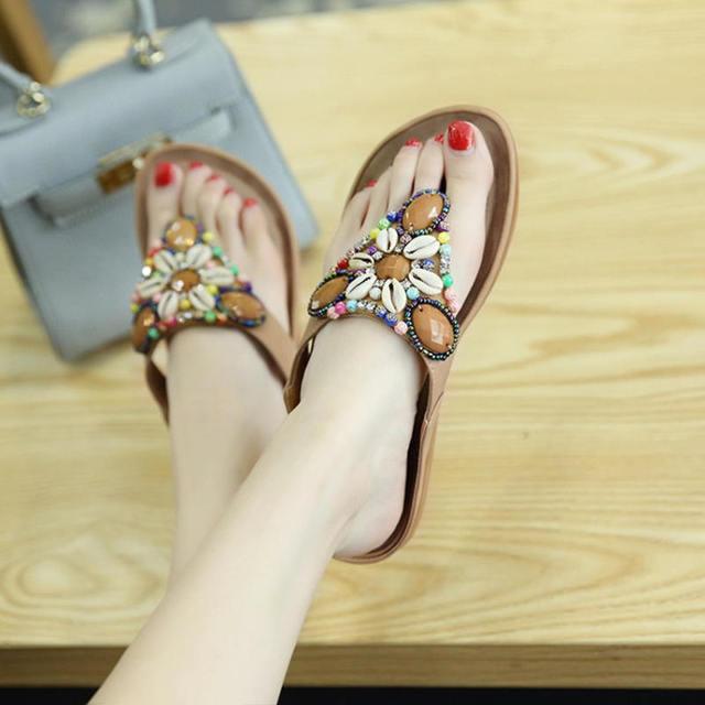 81a25e36f61ac3 Women flip flops 2018 new beach outdoor summer slippers femme shoes women  ethnic bohemian bead slippers