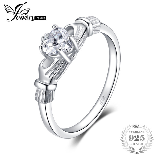 JewelryPalace April Birthstone Sona Do Irish Claddagh Ring 925 Sterling Silver J
