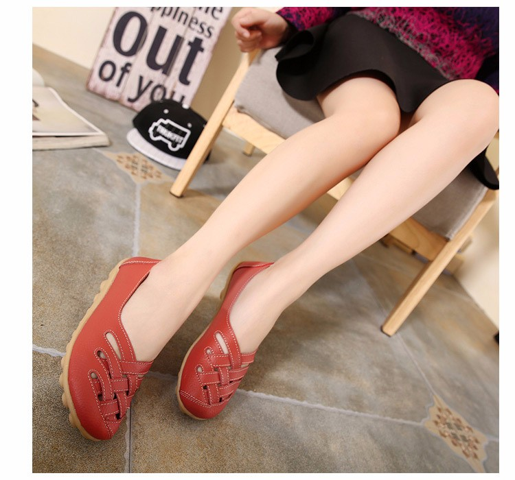 Hot Sale 2016 Spring New PU Leather Woman Flats Moccasins Comfortable Woman Shoes Cut-outs Leisure Flat Woman Casual Shoes ST181 (3)