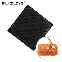 Square Line Shaped 3D Black Silicone Cake Mold Baking Decoration Tools Cake Pan