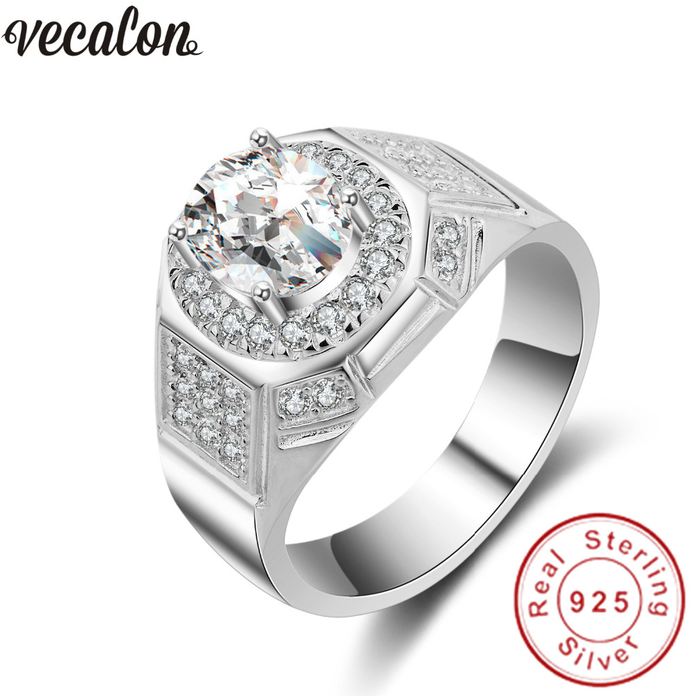 Vecalon Big Jewelry Wedding Band Ring For Men 2ct Diamonique Cz 925  Sterling Silver Male Engagement