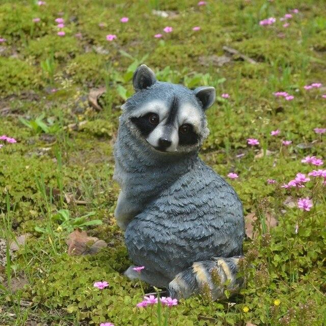 Cute Animal Raccoon Statue Art Sculpture Resin Art&Craft Home Decoration Accessories Gifts R155