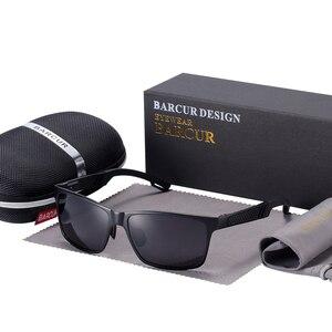 Image 4 - BARCUR الألومنيوم الاستقطاب النظارات الشمسية الرجال نظارات شمسية مستقطبة مربع حملق نظارات Gafas oculos دي سول masculino