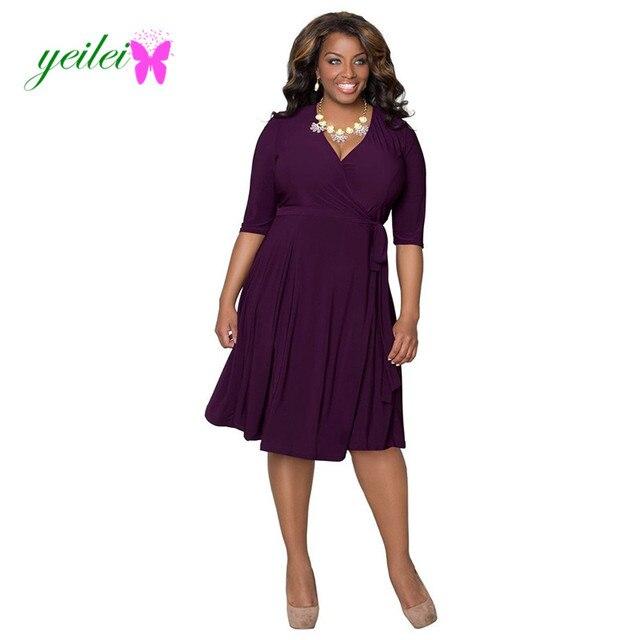 e1c275ba143 Yuelei женщин три четверти платье v-образным вырезом большой размер платье  vestidos Большие размеры женская