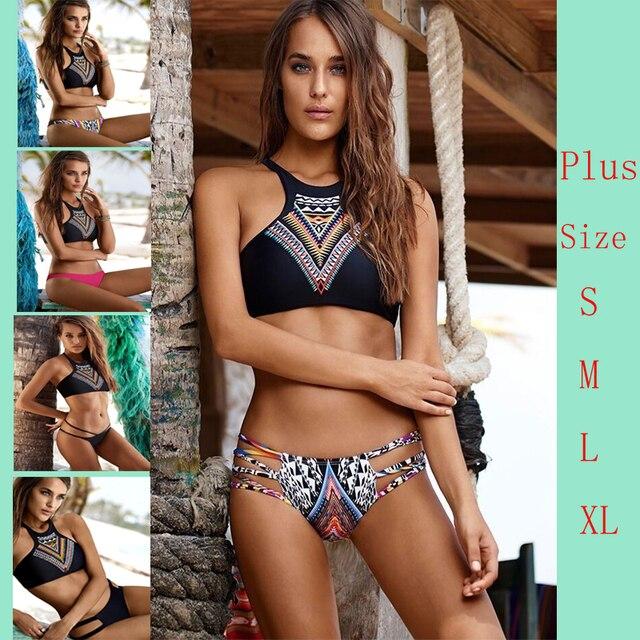 421b81cc1f2 Fashion Sexy bikini!2016 New Design Push Up Women High Neck Bikini Geometry Bath  Suit ,Slim Bottom Tankini Swimwear 1559