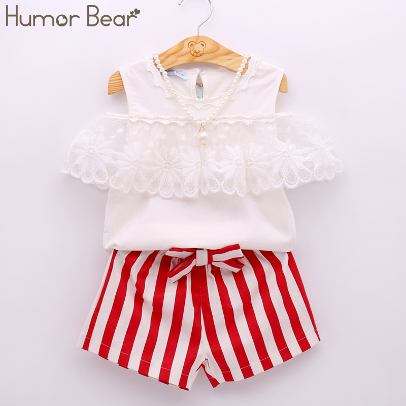 Humor Bear Kids Clothes Summer Girls Clothing Sets Bud Silk Lace Short Sleeves + Red Stripe Shorts 2Pcs Children'S Clothing цены онлайн