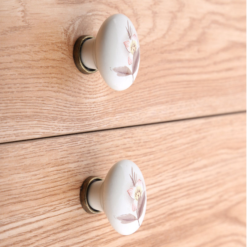 Rustico retro rural printing ceramic drawer tv table knobs pulls oval bronze kitchen cabinet cupboard door handles knobs