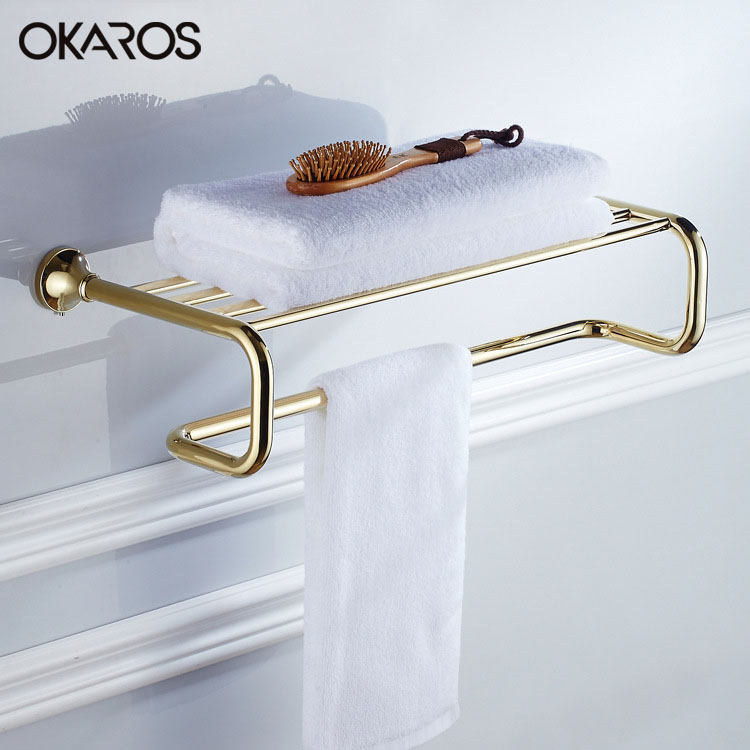 Towel Rack Holder Towel Shelf Tower Rail Towel Hanger Solid Brass Golden/Chrome Finished Bathroom Accessories European