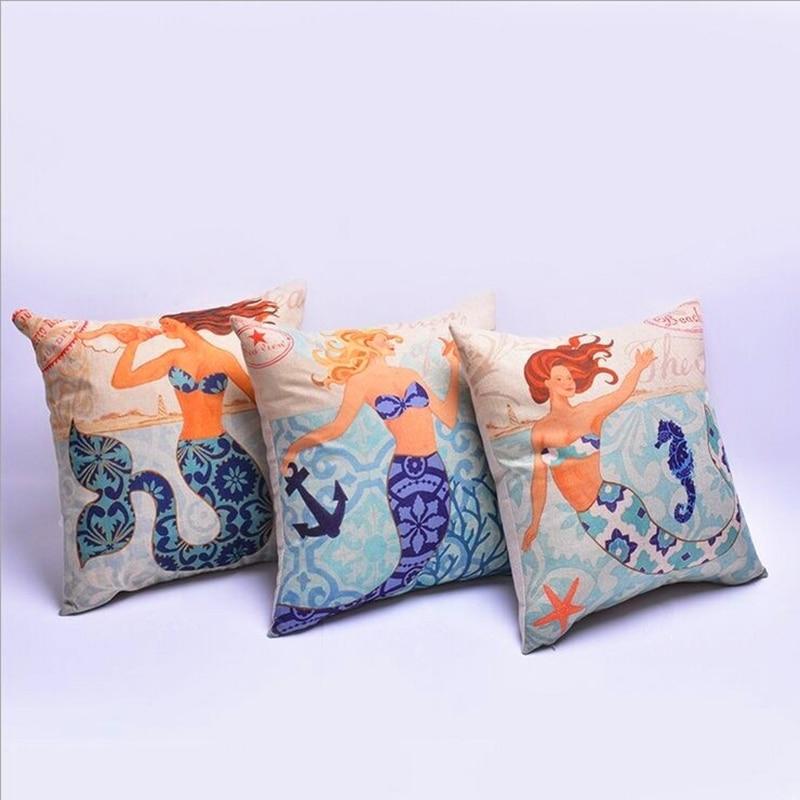 2017 Hot Koop Mermaid Katoen Linnen Blend Kussensloop Voor Kantoor/slaapkamer/stoel Zitkussen 18x18 Inches Gratis Verzending Aquarium