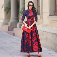 XXXL Brand Plus Size Women S Dress 2017 Spring Ladies Stand Collar Solid Color Big Swing