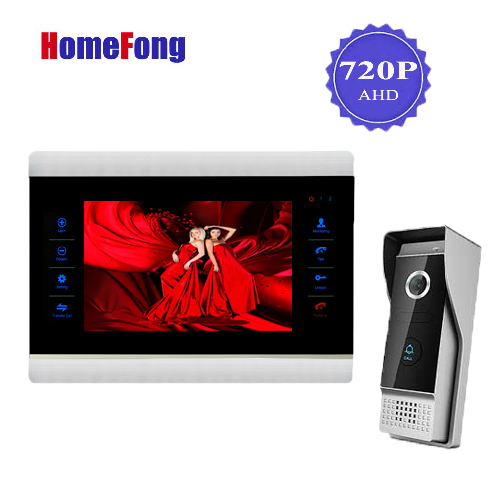Homefong 7 Inch AHD HD Video Doorbell Door Phone Intercom System 720P Metal Picture Video Recording 1 Monitor 1 Doorbell homefong 7 inch video door phone doorbell intercom system 1 monitor 2 doorbell camera day night vision recording video photo