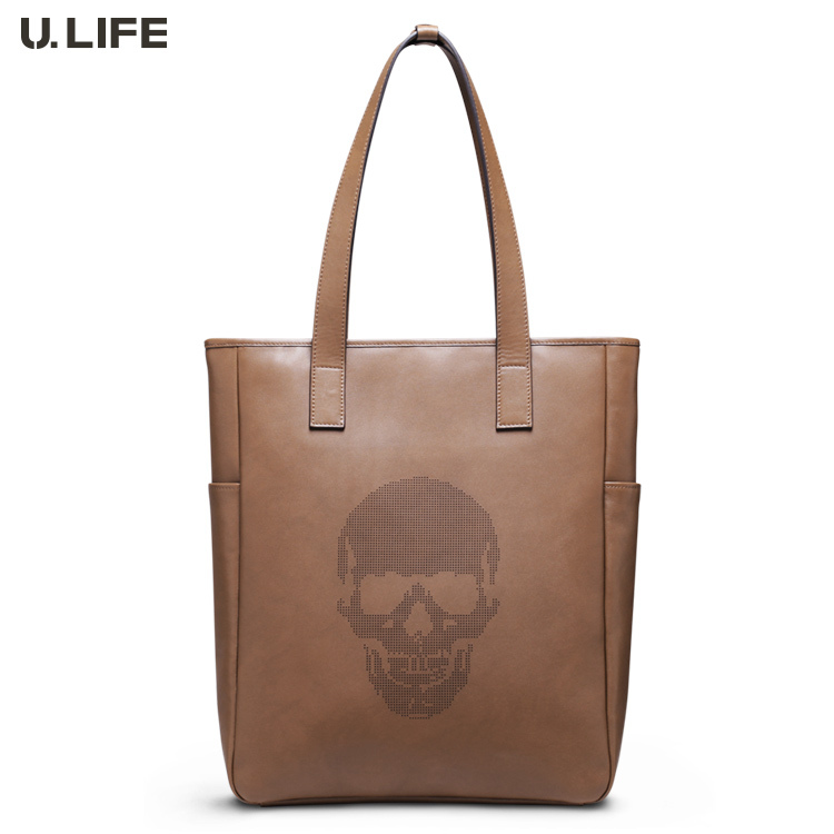 (Free EMS)Brand New U.LIFE Fashion Men Casual Genuine Leather Satchel Handbag Tote Briefcase Leather Briefcase Men Bag T3014
