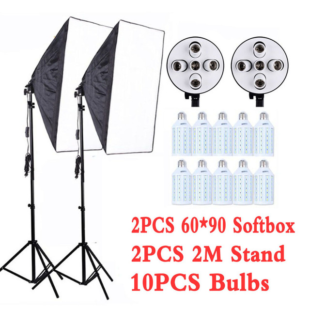 """Professional 60x90cm/24x35"""" 5 in 1 Socket Camera Softbox Kit With Light Stand For Dslr Photography Studio Diffuser Lightbox"""