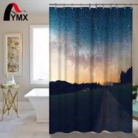 Bathroom Product Shower Curtain Night Sky Moon Stars Print Bathroom Waterproof Curtain Shower Set With Hooks
