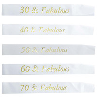 White Birthday Sash Gold Glitter Writing 30 40 50 60 70 and Fabulous Sash  for 30th 40th 50th 60th 70th Birthday Party Decoration