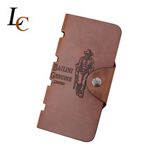 Hot Promotion Classic Vintage Male Hasp Hunter Bailini Brand Long Brown Leather font b Wallet b