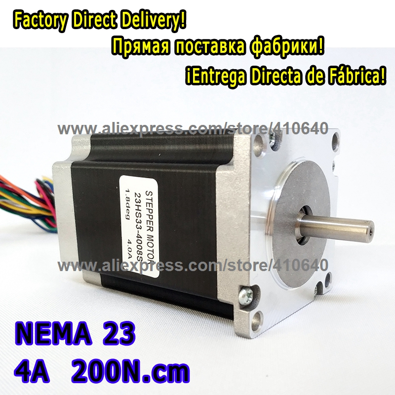 Super Sales 1 Piece High torque step motor 23HS33-4008S L 84 mm Nema 23 with 1.8 deg 4 A 200 N.cm and bipolar 8 lead wires