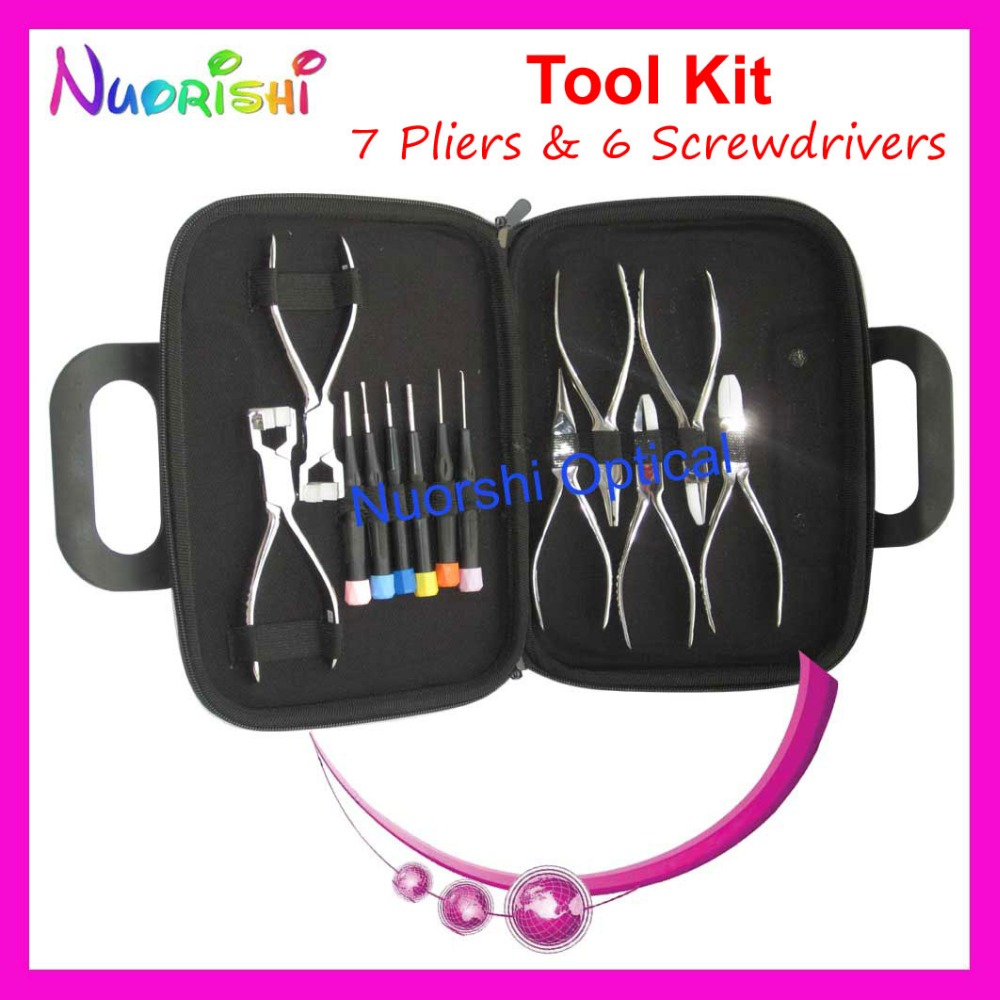 Professional Eyeglasses Eyewear Glasses Repairing Tool 7 Plier 6 Screwdriver Kit Set PL101 Free Shipping