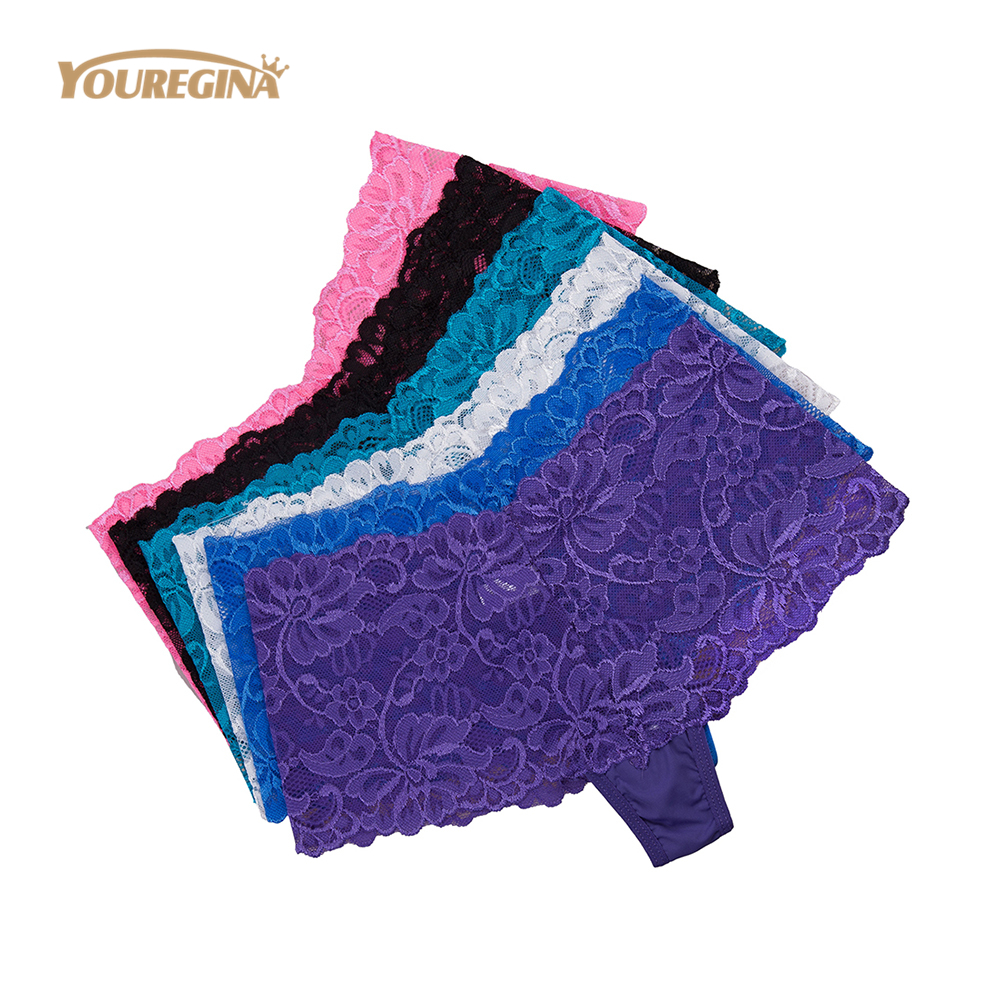 YOUREGINA Underwear Women Sexy Boyshort Transparent Lace Floral Briefs Cotton Ladies   Panties   Low-rise Embroidery Boxer 6pcs/lot
