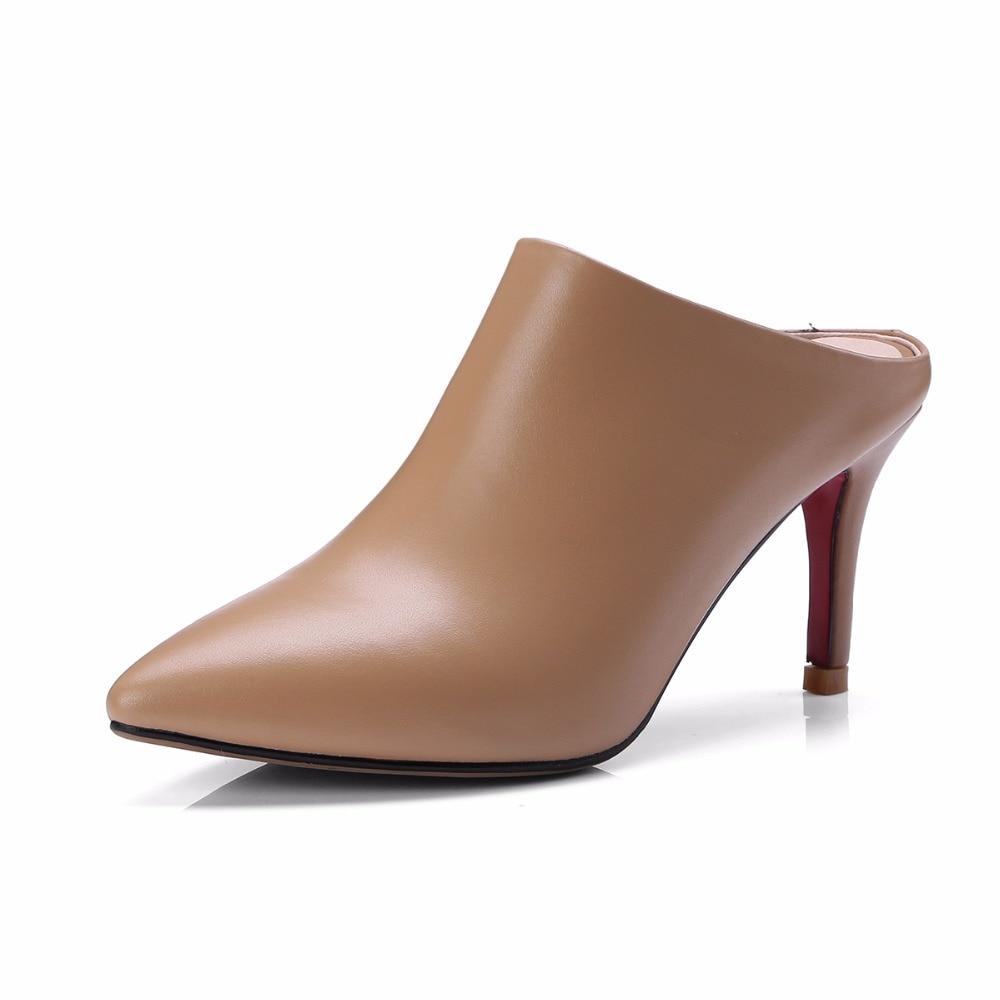 En brown Talons Sur Mules Stylets Diapositives Beige D'été 2018 Brun Sexy Femmes Arden Véritable Haute Pantoufles Cuir Furtado Cm Glissement Blanc Printemps 8 eWrQxBdoC